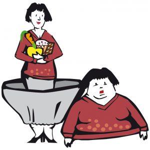 Frauenpaar dick dünn